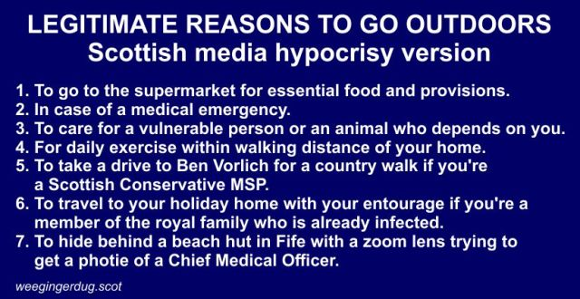 Coronavirus guidelines – Scottish media hypocrisy version